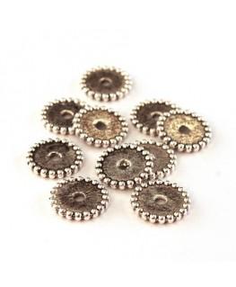 Perles intercalaires roues argentées