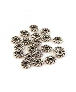 Perles rondelles roues vieil argent