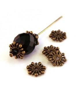Perle rondelle métal flocon bronze