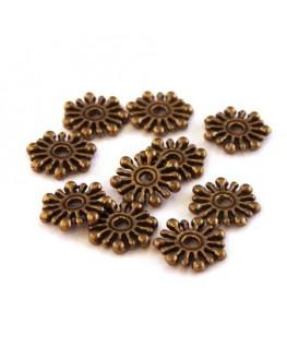 Perles rondelles flocon bronze