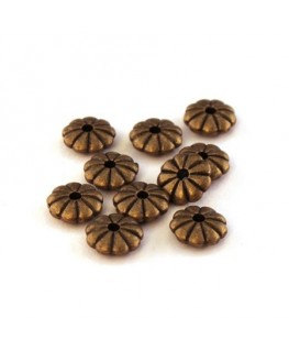 Perles intercalaires rondelle fleur bronze