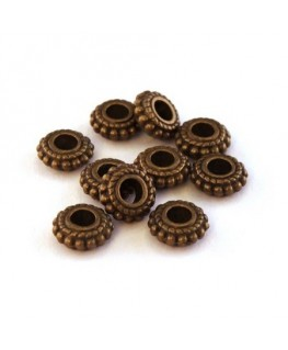 Perles rondelles gros trou bronze