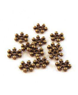 Perles intercalaires flocon neige bronze