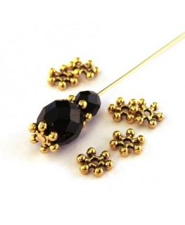 Perles rondelles flocon neige doré