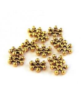 Perles intercalaires flocon neige doré