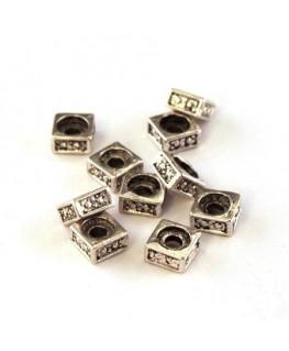 Perles intercalaires carrées vieil argent