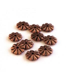Perles intercalaires marguerite cuivre