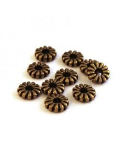 Perle intercalaire striée bronze