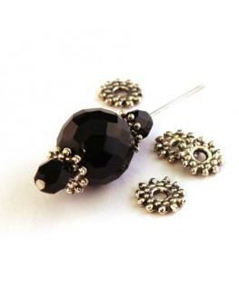 Perle rondelle en métal vieil argent