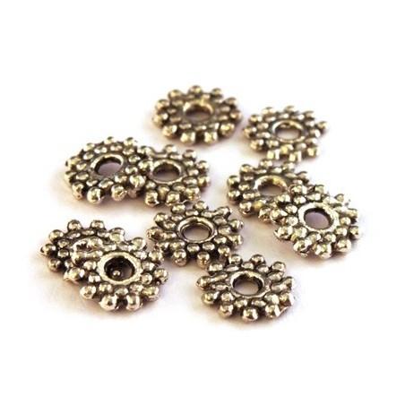 Perle intercalaire en métal vieil argent