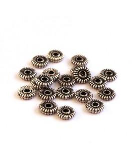 Perle intercalaire en métal roue argent