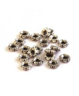 Perle rondelle en métal couronne