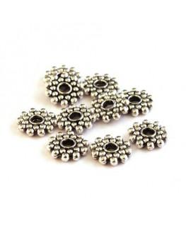 Perle rondelle roue métal vieil argent