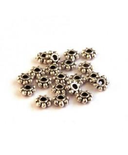Perle mini rondelle métal vieil argent