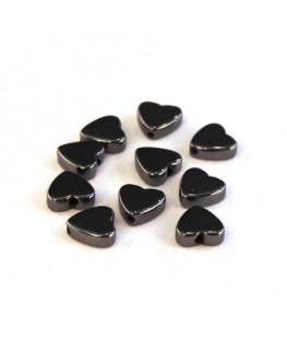 Perles coeur hématite 6mm