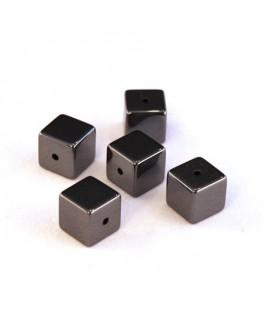 Perles cube hématite 6mm