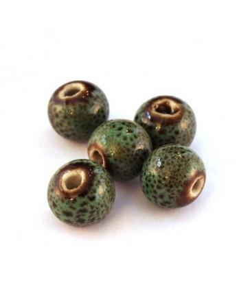 Perle céramique 10mm vert