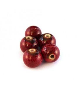 Perle céramique 10mm rouge