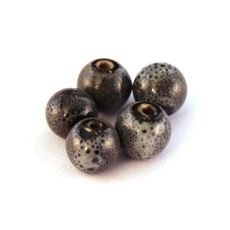 Perle céramique 10mm gris