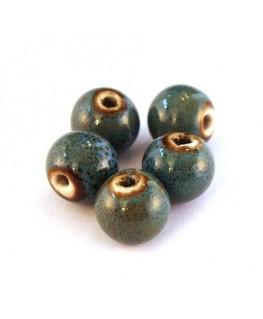 Perle céramique 11mm bleu