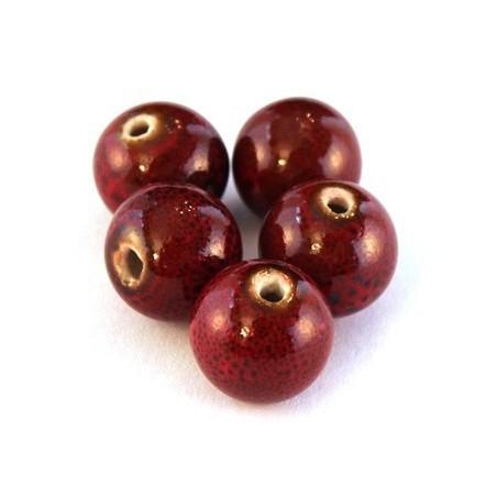 Perle céramique 12mm rouge