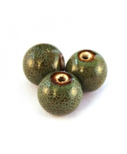 Perle céramique 13mm vert