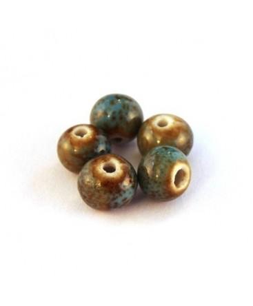 Perle céramique 8mm bleu