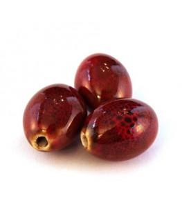 Perle céramique olive rouge