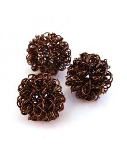 Perle boule en fil 18mm chocolat