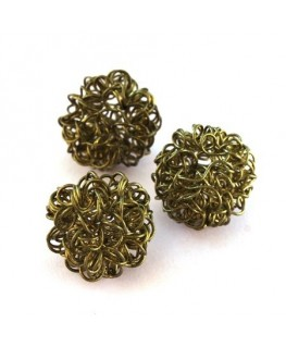 Perle boule en fil olivine 18mm