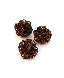 Perle boule en fil chocolat 12mm