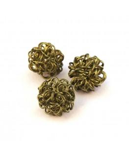 Perle boule en fil olivine 12mm