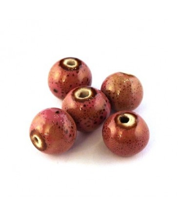 Perle céramique 11mm rose