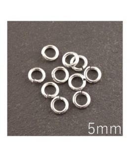 anneaux 5mm épais argentés