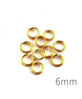 anneaux brisés 6mm dorés