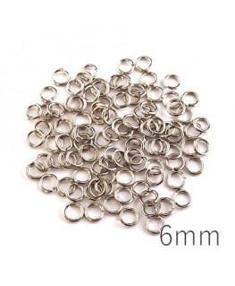 anneaux brisés 6mm vieil argent