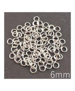 anneaux brisés 6mm argentées
