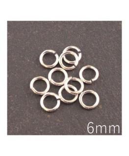 anneaux brisés 6mm argentés