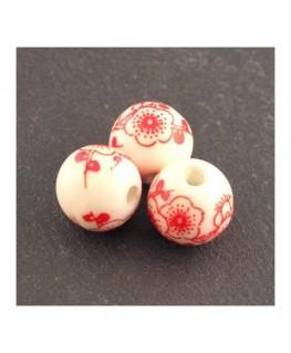 perle céramique fleurs rouges 12mm