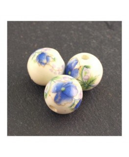 perle céramique fleur bleu 12mm