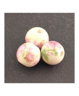 perle céramique fleurs vieux rose