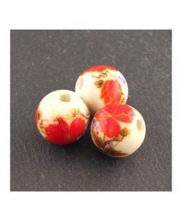 perle céramique fleurs rouge 12mm