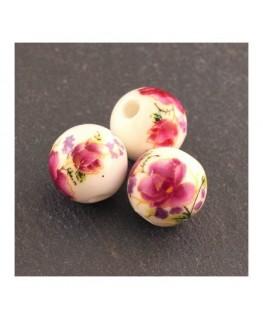 perle céramique fleurs fuchsia 12mm