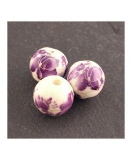 perle céramique fleurs violet 12mm