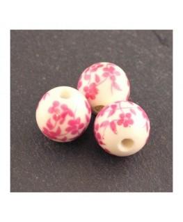 perle céramique à fleurs rose 12mm