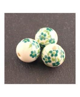 perle céramique à fleurs vert 12mm