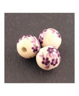 perle céramique à fleurs violet 12mm
