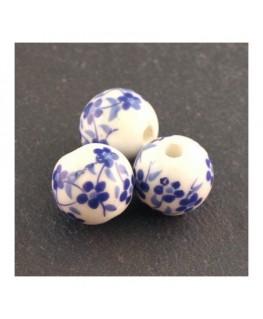 perle céramique à fleurs bleu foncé