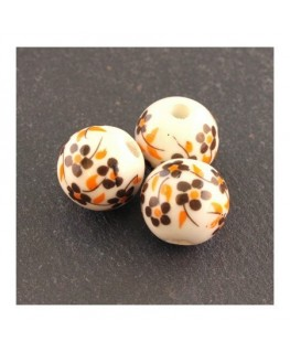 perle céramique à fleurs marron