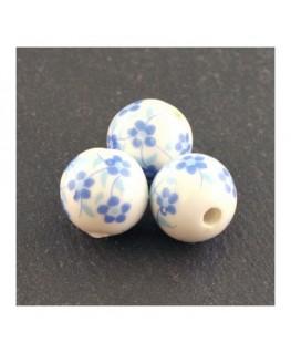 perle céramique à fleurs bleu clair
